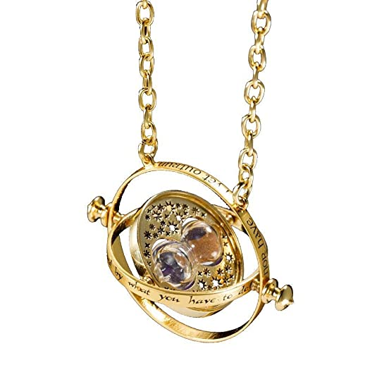 Necklace of Harry Potter and Hermione Granger Time Turner Hour Glass, Gold Sand, in a red velvet pouch, by KalematStore