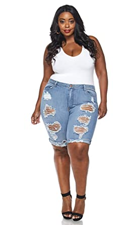 6829684ad0 Image Unavailable. Image not available for. Color: Plus Size High Waisted Distressed  Bermuda Shorts ...