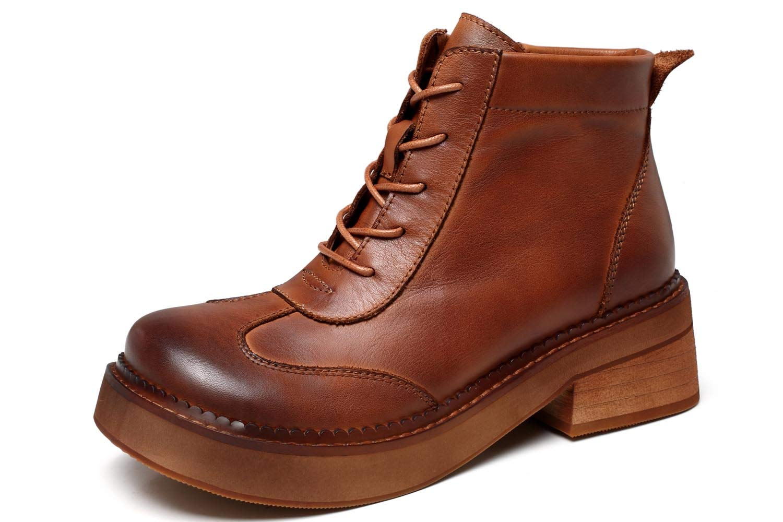 Schuhe house Damenleder-Knöchelstiefel mit Low-Heel Casual Stiefel schwarz mit Retro-Schuhen