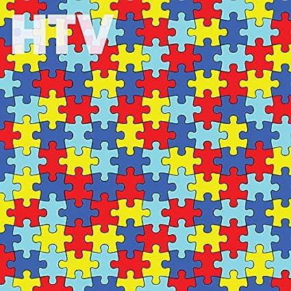 amazon com autism awareness puzzle piece pattern htv 12 x 12