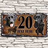 Custom Black Labrador Dog House Slate Personalised Pet Name Number Sign - 30cm x 15cm by Krafty Gifts