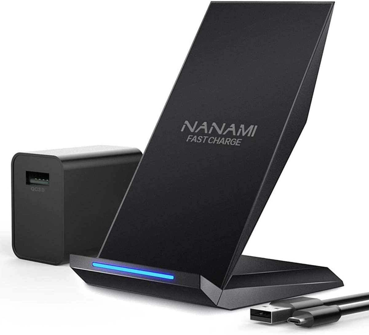 Fast Wireless Charger, NANAMI Qi Certified Wireless Charging Stand [with QC3.0 Adapter] Compatible iPhone 11/11 Pro/11 Pro Max/XR/XS Max/XS/X/8/8 Plus,10W for Samsung Galaxy S10+/S9/S8/S7/Note 10/9/8