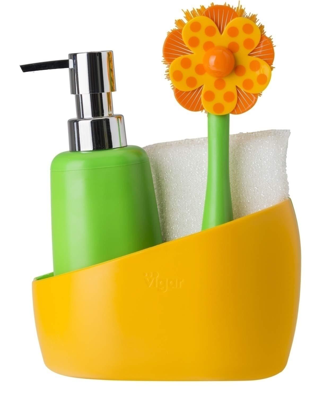 Vigar Accessori Pulizia 4 Pezzi Arancione/Verde - 7203_Naranja.Verde