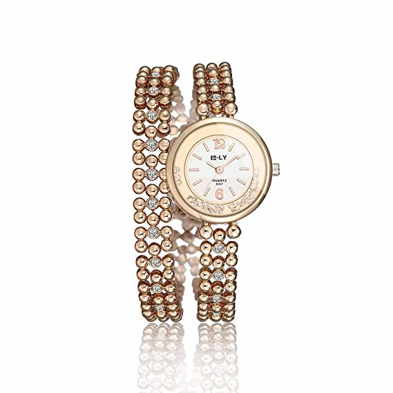 Reloj de Pulsera Agujas quarzo Acero Joya Reloj Mujer Iliade Rosa Regalo