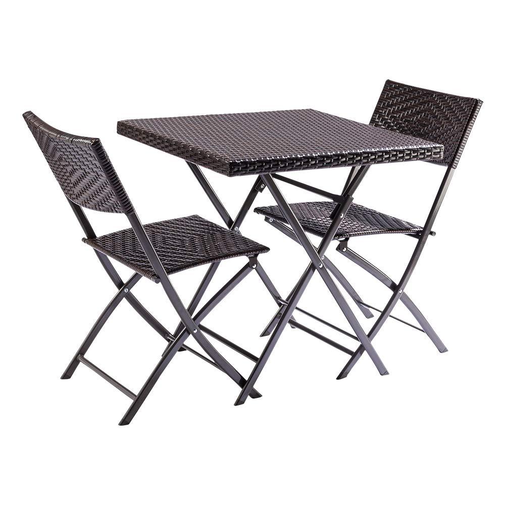 Trueshopping Honfleur Rattan Bistro Set mit Tisch und 2 klappbaren Rattanstühlen für den Außenbereich