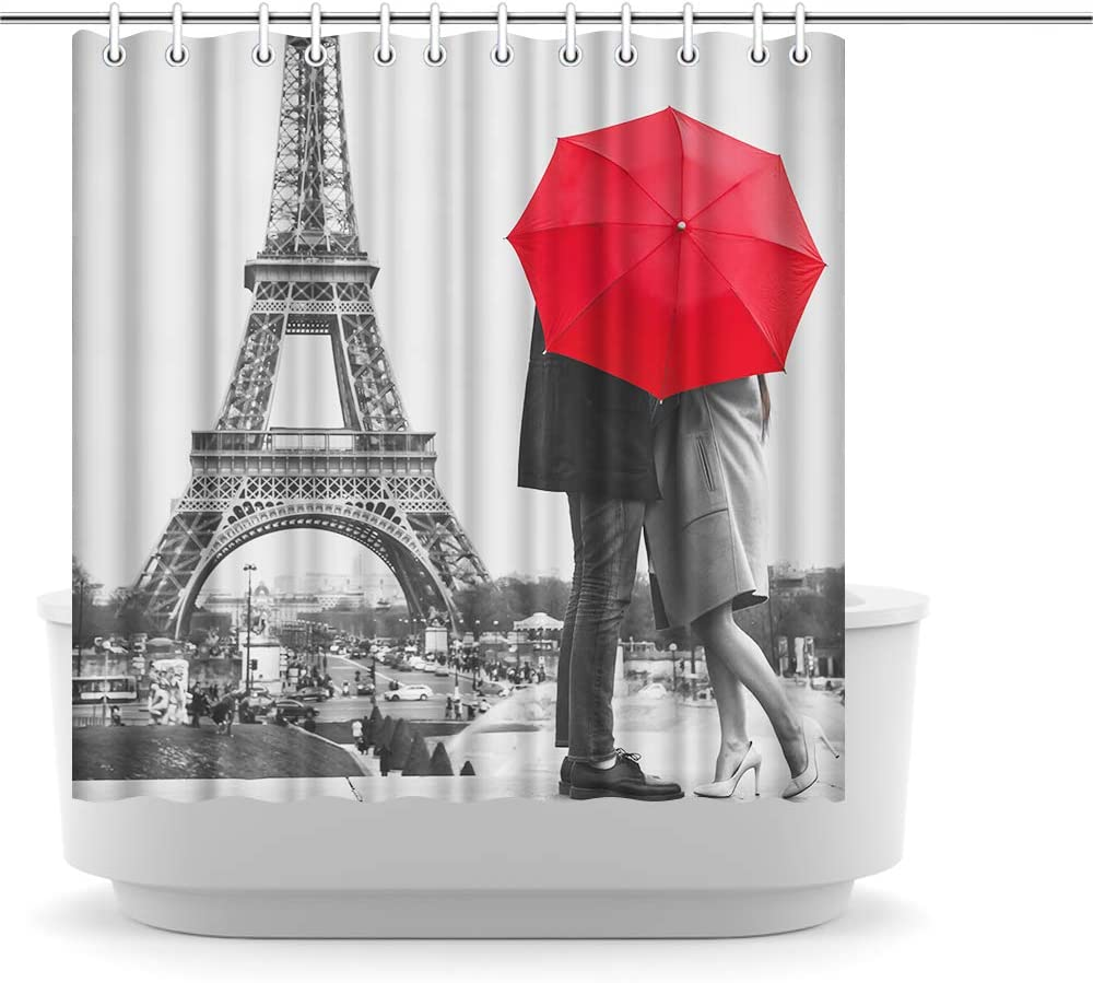 "Innopics Vintage Style Black and White Shower Curtain Retro Eiffel Tower Bathroom Decor Paris Couple Red Umbrella Picture Print Polyester Fabric 72"" x 72"" Water-Repellent Bath Curtain"