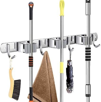 Garage Support Cintre de Rangement pour Cuisine Buanderie Accroche Balai Mural,Accroche Balai en Acier inoxydable Porte Balai Mural Lot de 2, 2 supports