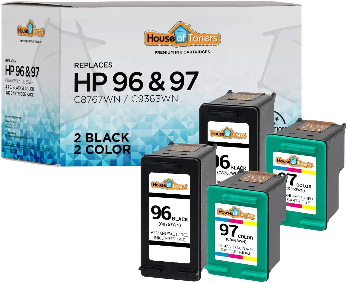 HouseOfToners Remanufactured Ink Cartridge Replacement for HP 96 & 97 (2 Black & 2 Color, 4-Pack)