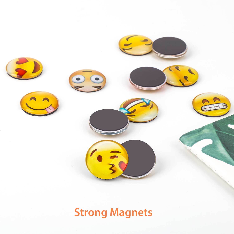 Lesfit Imanes Nevera Pizarra Magnetica Emoji 12 Pieza Iman Frigorifico de Cristal 3D Decorativos Divertidos