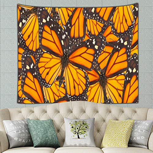 Orange Monarch Butterfly Close Natural Miscellaneous Nature Tapestry Wall Hanging, Wall Tapestry with Art Nature Home Decorations for Living Room Bedroom Dorm Decor 50ʺ × 60ʺ ()