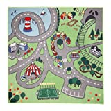 Childrens' Area Rug:Colorful Streets, Roads,Village for Kids to Play {51' x 53'}