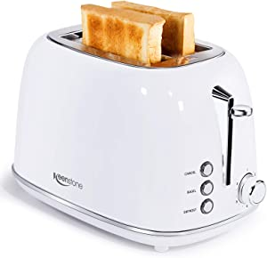 Toaster 2 Slice, Keenstone Stainless Steel Retro Toaster with Bagel Function, Wide Slots, Crumb Tray, White