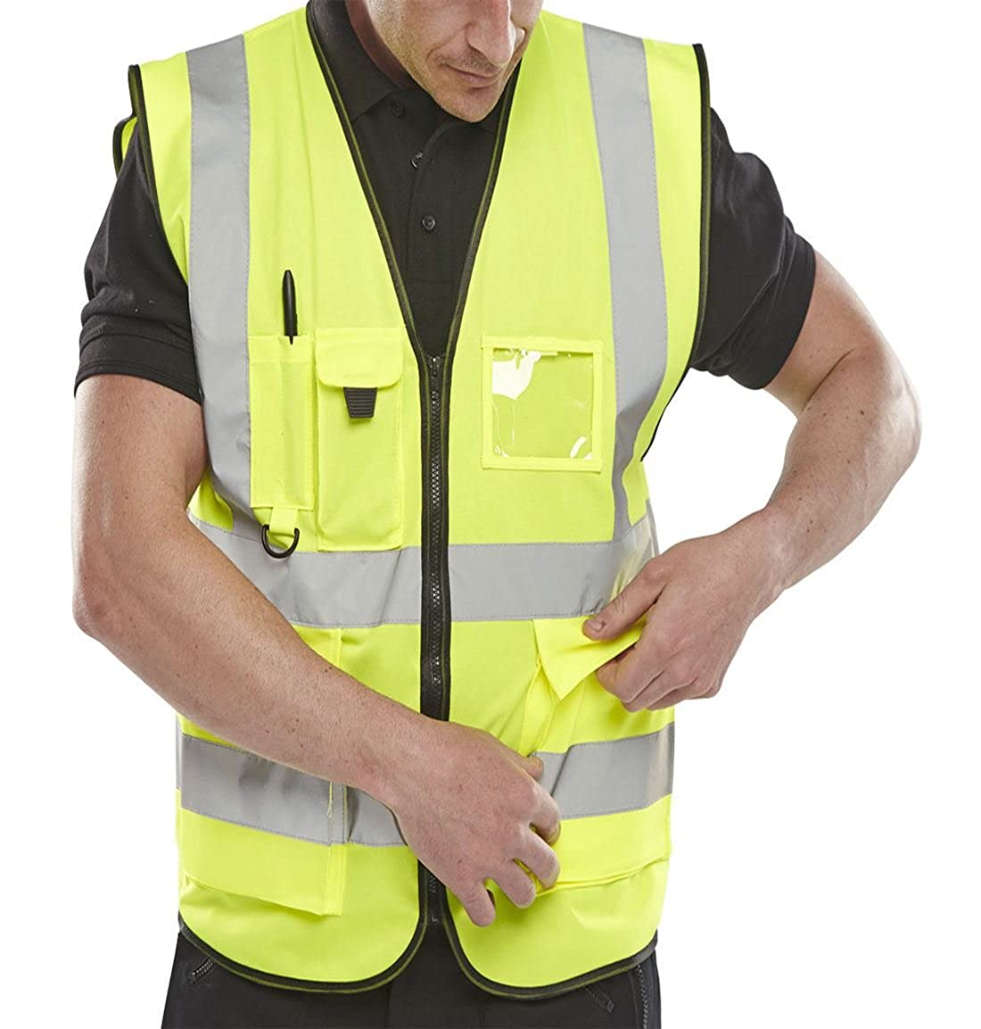 Islander Fashions Adult High Visibility Waistcoat Mens Sports Ropa de Trabajo Safety Reflective Vest M / 5XL