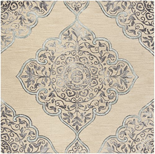 Safavieh Dip Dye Collection DDY510A Handmade Beige and Blue Wool Area Rug (7' Square)