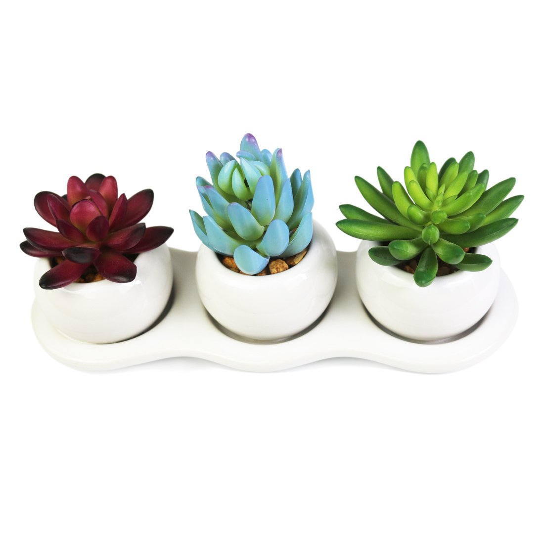 Myartte Home Decor-3 Different Artificial Succulent Plants in White Ceramic Pots for Home/Office Decoration