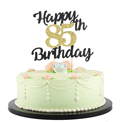 Amazon LVEUD Happy Birthday Cake Topper Black Font Golden