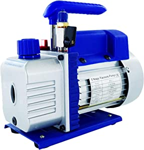 3.6CFM 1/4HP Single-Stage Rotary Vane Vacuum Pump, Upgraded Design with Manual Valve for HVAC, Air Conditioner Maintenance, Food Packaging, Wine Degassing, Deaeration, Medical Experiment (Without Oil)