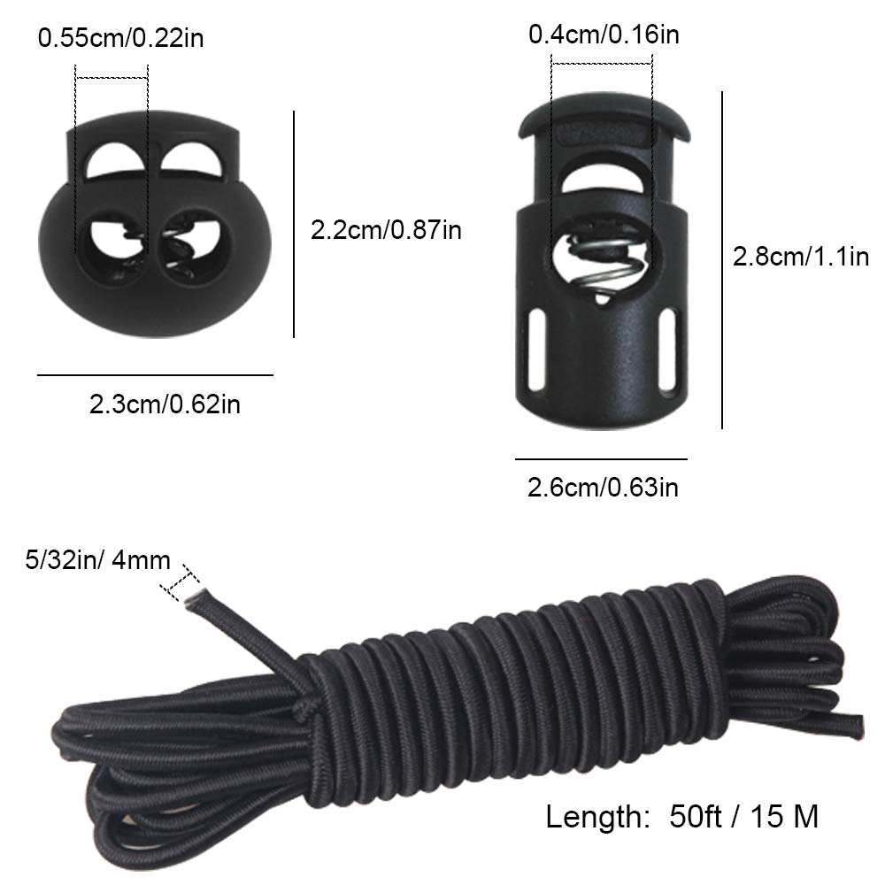 End Spring Toggle Stopper Slider with Crafting Stretch String Black 20 PCS Plastic Cord Locks /& Elastic Bungee Nylon Shock Cord 5//32 50 ft Lengths 10 PCS Double-Hole DaKuan 10 PCS Sing-Hole