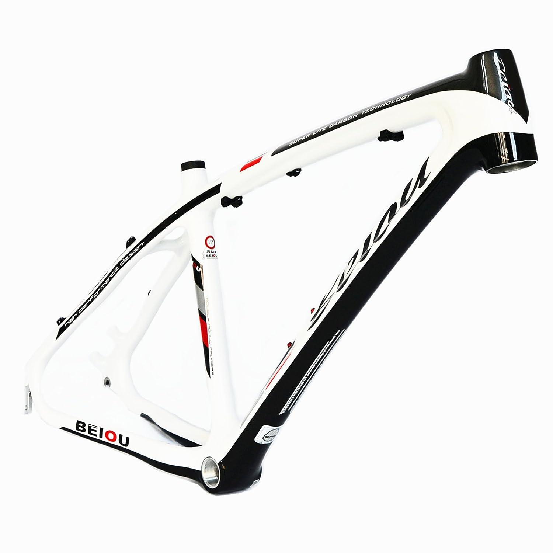 Beiou ® en fibre de carbone 3 K Mountain Bike Frame Blanc brillant 17
