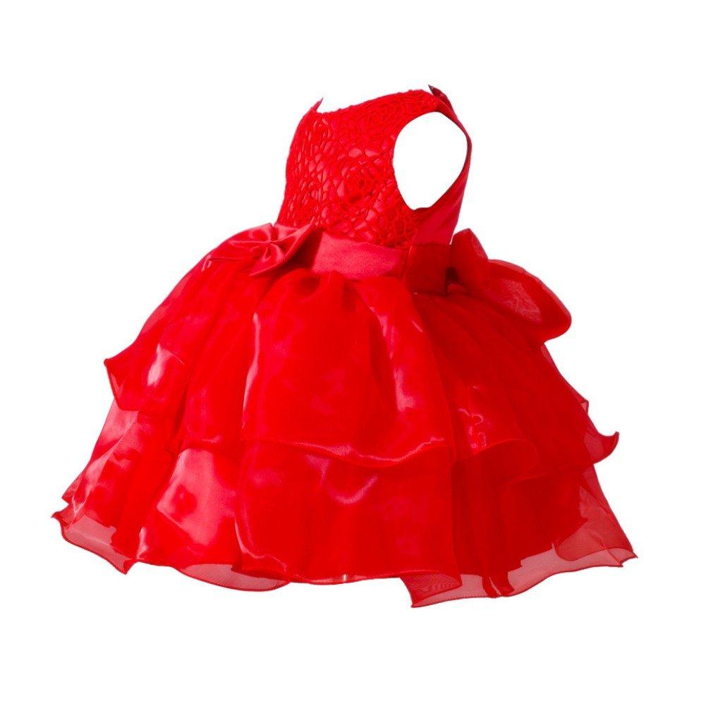 Loveble Baby Newborn Girls Sleeveless Princess Bowknot Dress Toddler Wedding Pageant Communion Party Mini Tutu Dresses for 0-2 Year