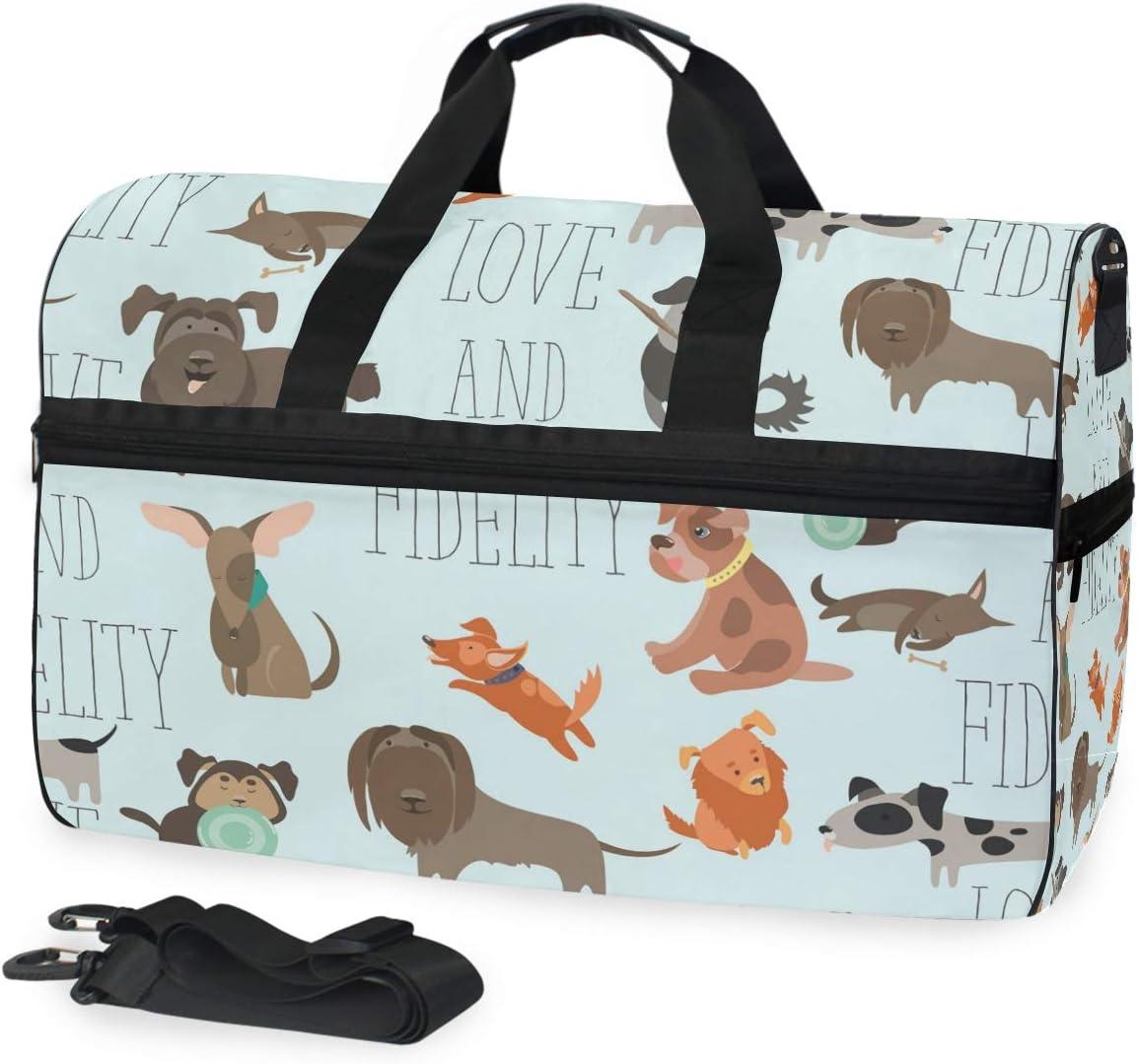 FANTAZIO Animal Dog Love And Fidelity Sports Duffle Bag Gym Bag Travel Duffel with Adjustable Strap
