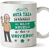 MUGFFINS Abuelo Tazas Originales de café y Desayuno para Regalar a Abuelos - Esta Taza Pertenece al Mejor Abuelo del Universo - Cerámica 350 ml