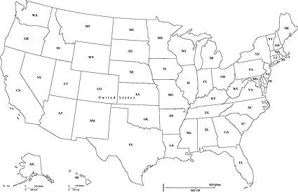 Amazon Com Home Comforts Laminated Map Us Map Abbreviation Fill