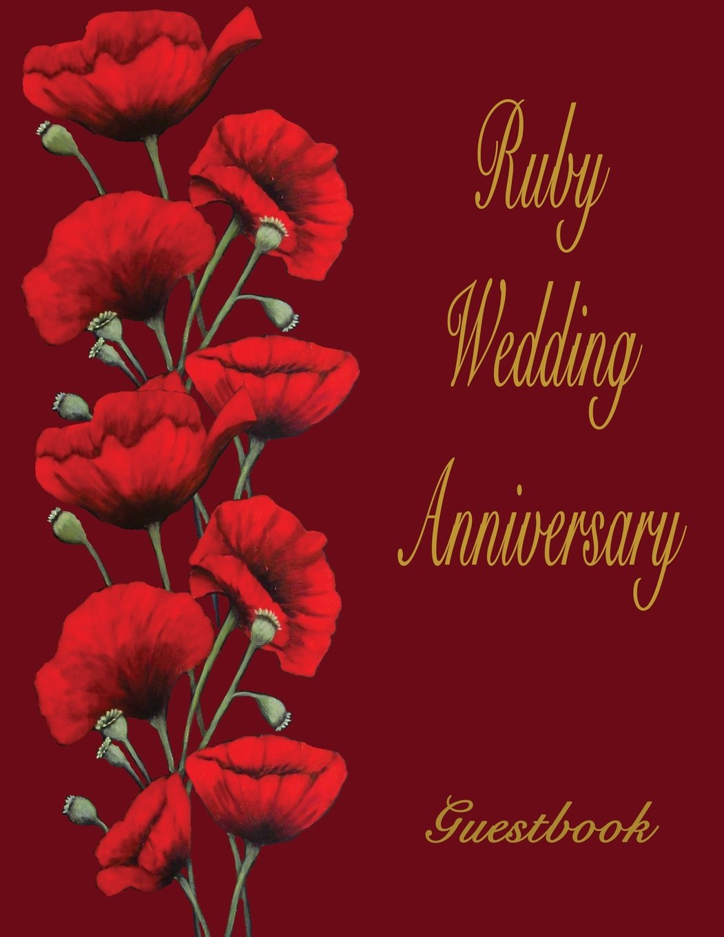 Download Ruby Wedding Anniversary Guestbook: 40th Wedding Anniversary guestbook. Soft Cover, Blue with red poppies. 110 pages, 8.5x11. Lined pages for your guests to sign and leave comments. pdf epub