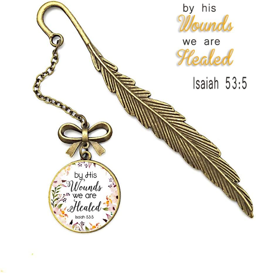 Marcapáginas inspirador de plumas, diseño de la Biblia Cristiana, regalo de inscripción para amigos y familia, 1H Isaiah 53:5, nomal