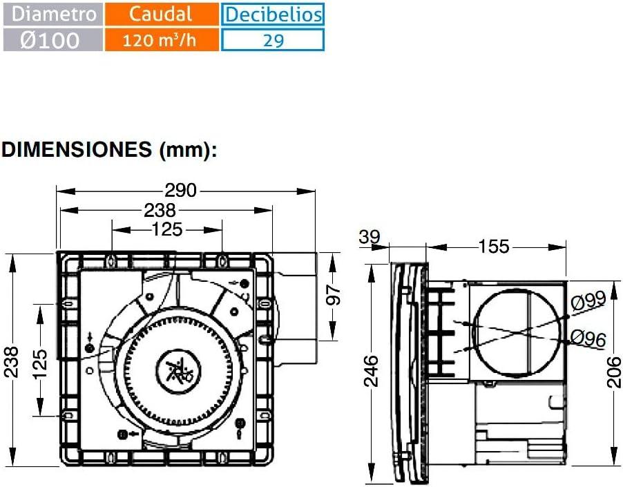 MUNDOFAN Extractor de Techo con Filtro Serie APF Ø100: Amazon.es: Hogar