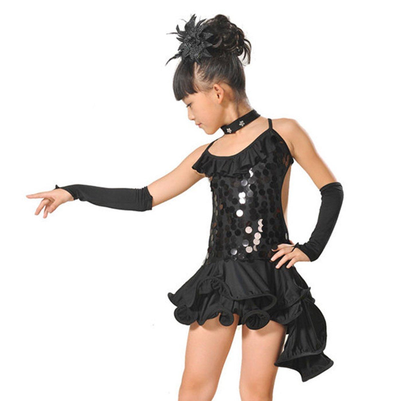 46d2d0aa98058 Feoya - Robe Costume Latino Fille Robe Danseuse Salsa Leotard Robe Danse  Irrégulière Robe à Bretelles