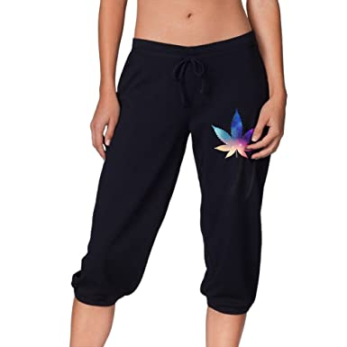 Marijuana Leaf Galaxy Weed Stoner Women's Capri Joggers French Terry Banded Lounge Pants