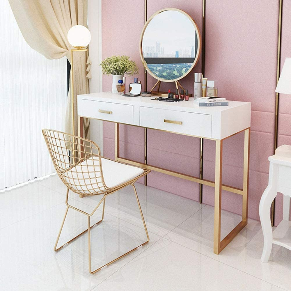 Tbaobei Baby Vanity Table Set Iron Simple Designs Vanity Table Set With Mirror And Cushioned Stool Dressing Table With 2 Sliding Drawers Compact Dresser Color White Size 80x40x75cm Amazon Co Uk Kitchen Home