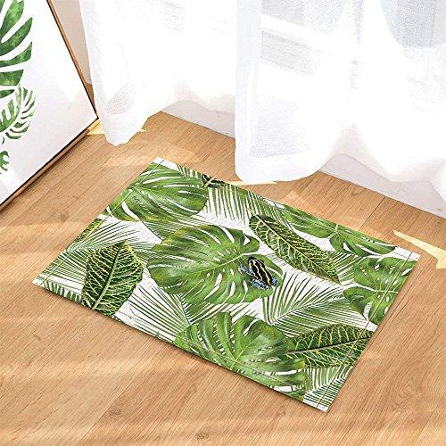 Tropical Hawaiian Exotic Plants Decor Frog on Monstera and Palm Leaves Bath Rugs Non-Slip Doormat Floor Entryways Indoor Front Door Mat Kids Bath Mat 15.7x23.6in Bathroom Accessories
