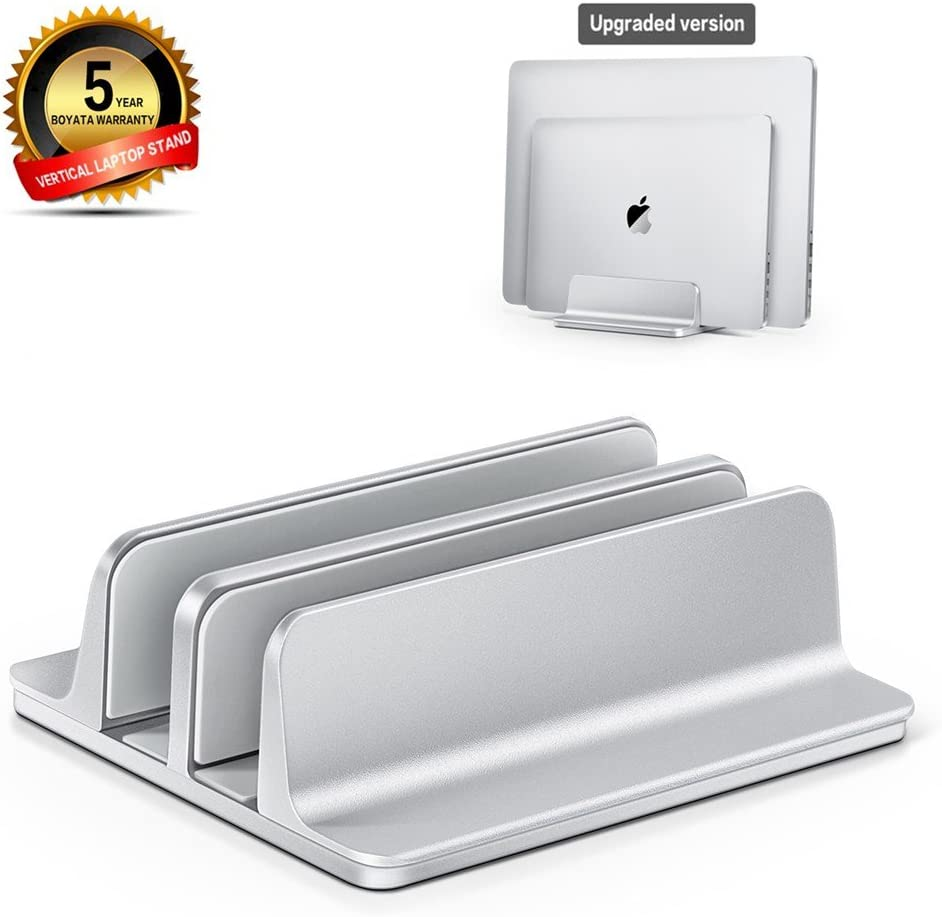 [Deal] Vertical Laptop Stand - Adjustable Double Slot Aluminum Desktop Holder for All MacBook/Chromebook/Surface/Dell/iPad Up to 17.5 Inches - [Dock Version] Silver