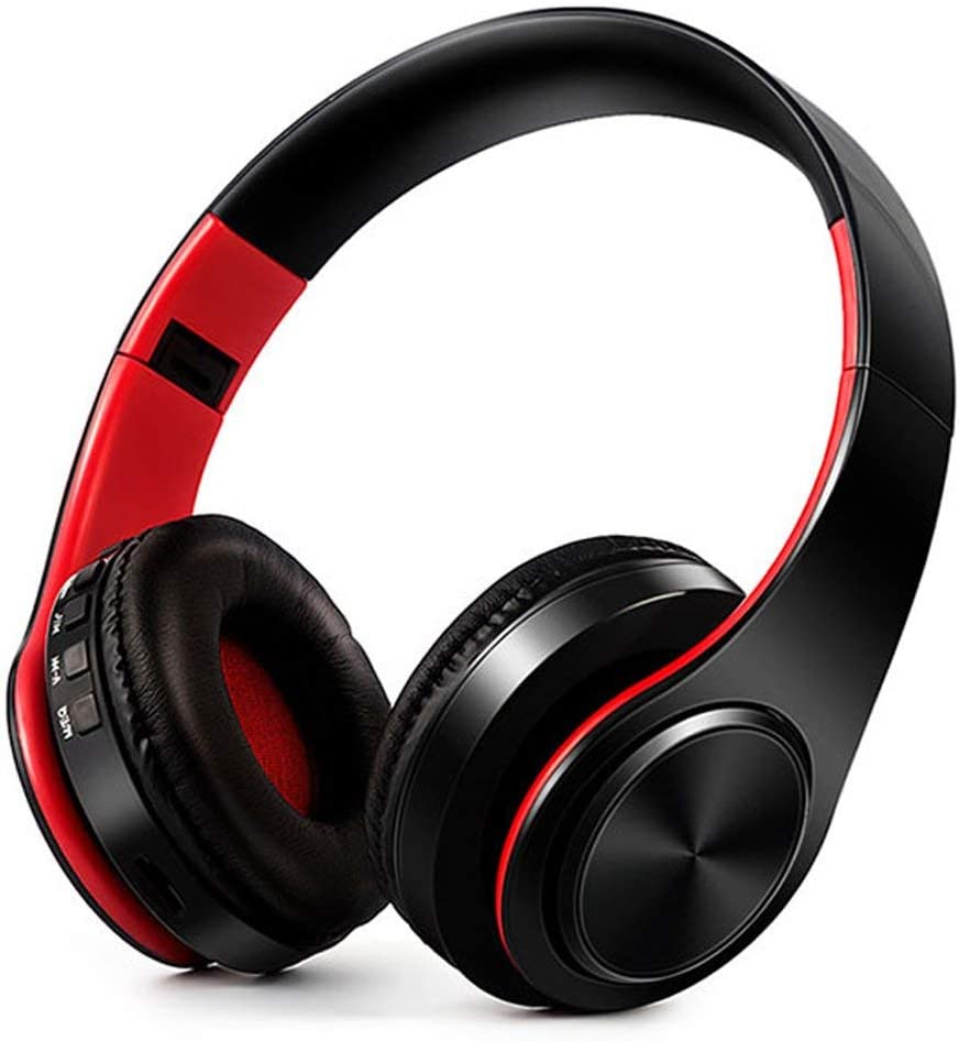Amazon Com Zkurozoxy Bluetooth Headphones On Ear Stereo Wireless Headset Wireless Headphone Headset With Microphone For Pc Cell Phones Tv Red Home Audio Theater