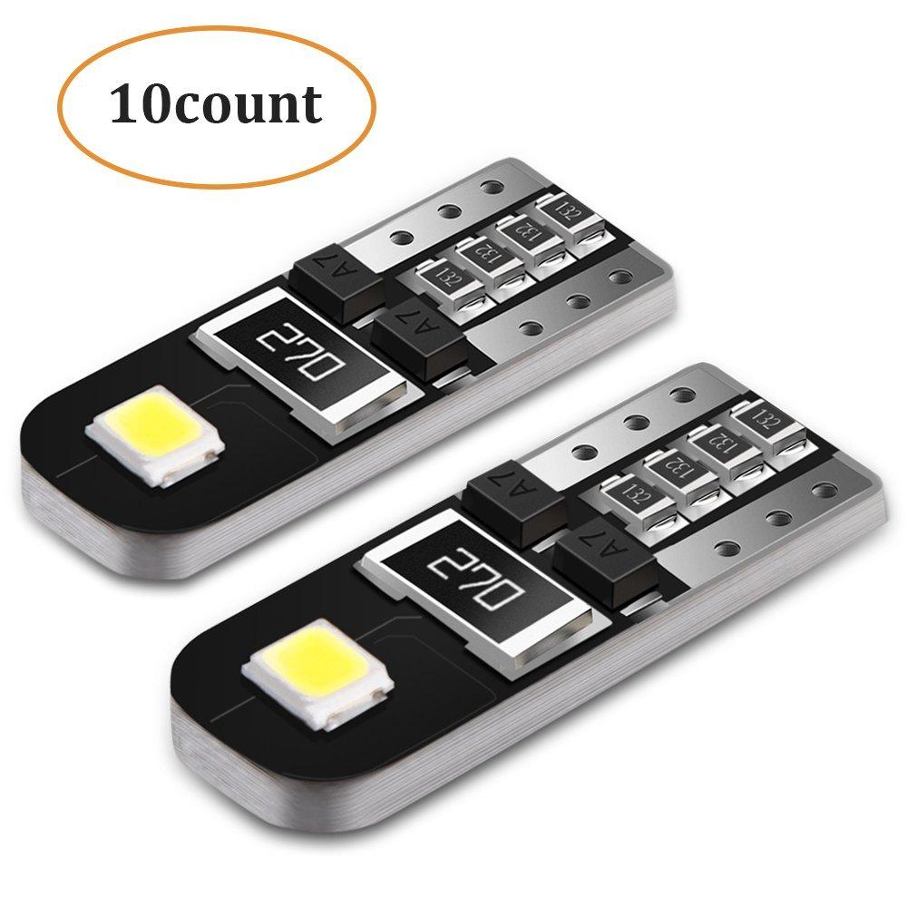 10X T10 Coche LED Bombillas W5W 12V 6000K, AGPTEK 2 SMD 2835 LED Canbus como Luz de Matrícula, Luz de Puertas Laterales, Luz Interior o Exterior del Coche, ...