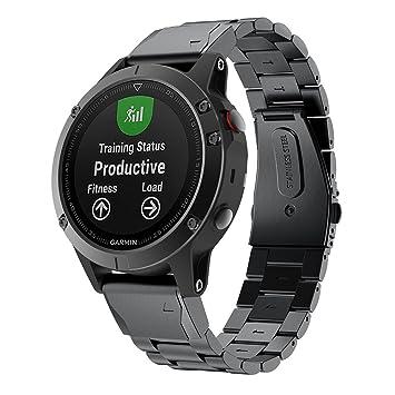 Correa de repuesto GOSETH para reloj Garmin Fenix 5, de acero inoxidable, correa de metal de liberación rápida para Garmin Fenix 5, color negro: Amazon.es: ...