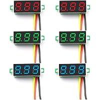 ZHITING 6 stuks digitale mini-voltmeter DC 0-100 V 0,28 inch drieregelige mini digitale voltmeter spanningsmeter 3…