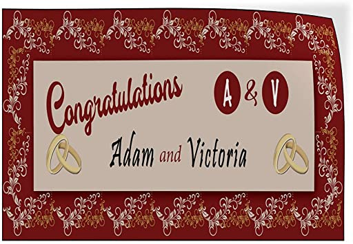 52inx34in Decal Sticker Multiple Sizes Congratulation White Green Lifestyle Wedding Outdoor Store Sign White Set of 2