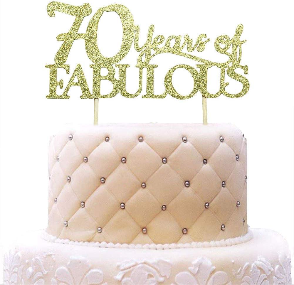 WoHappy 70 años de Fabulosa decoración para Tarta – 70 y Fabuloso – Feliz 70 cumpleaños Boda Fiesta Decoraciones Dorado Purpurina: Amazon.es: Juguetes y juegos