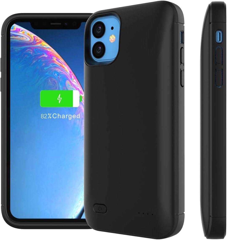 KALLOWLY Funda Bateria para iPhone 11 6.1 Inch 4000mAh,Funda Cargador Portatil Batería Externa Ultra Carcasa Batería Recargable Power Bank Case para iPhone 11 6.1 Inch 4000mAh(Black)