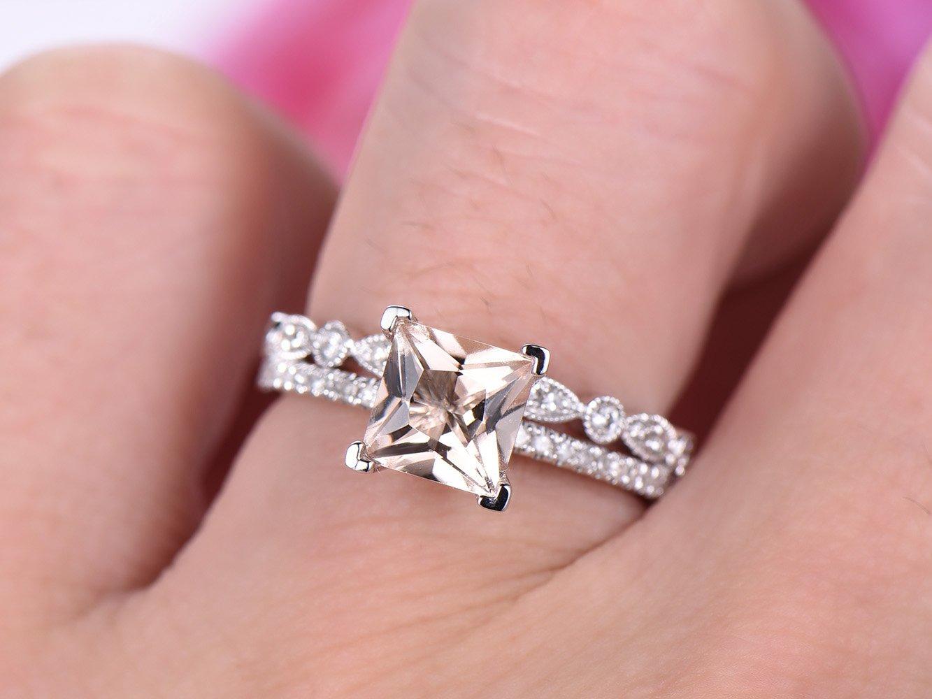 Amazon.com: Princess Morganite Engagement Ring Pave Diamond Wedding ...