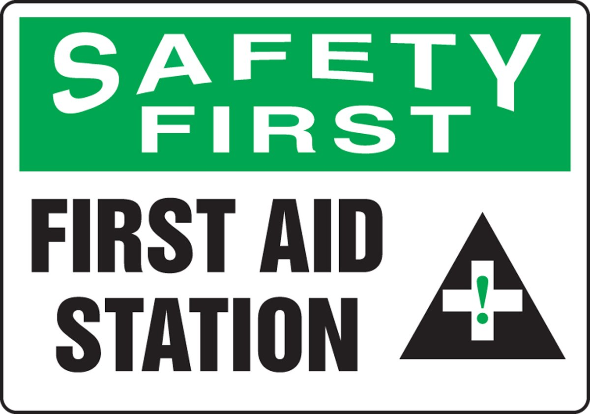 10 Length x 14 Width x 0.055 Thickness Green//Black on White Accuform MFSD912VP Plastic Safety Sign LegendSAFETY FIRST FIRST AID STATION with Graphic