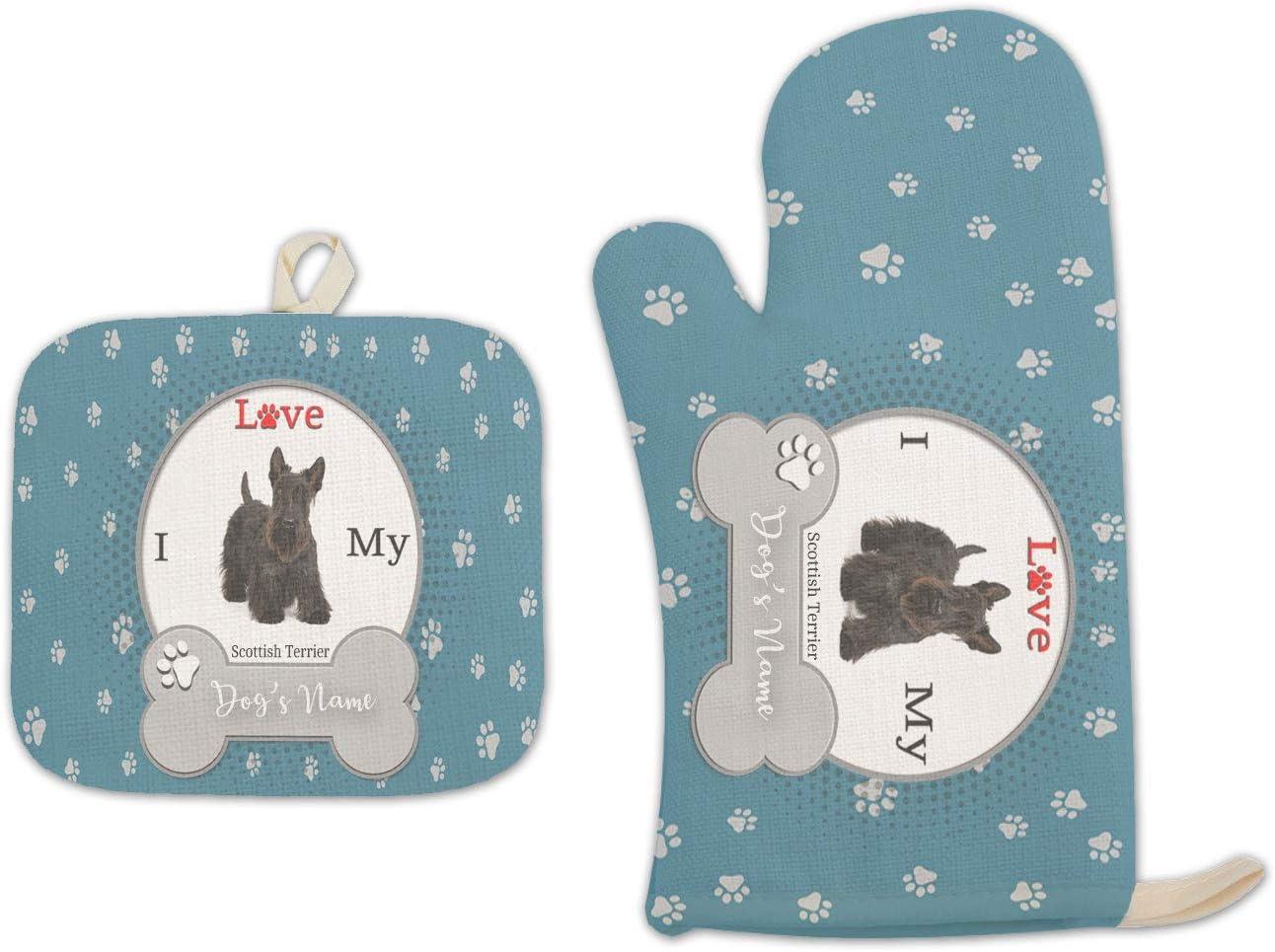 Bleu Reign BRGiftShop Personalized Custom Name I Love My Dog Scottish Terrier Linen Oven Mitt and Potholder Set