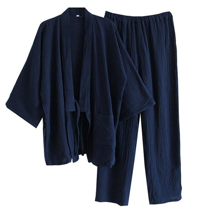 Traje de Pijama de algodón con Textura de Kimono Texturizado de Estilo japonés para Hombres japoneses- # F: Amazon.es: Ropa y accesorios