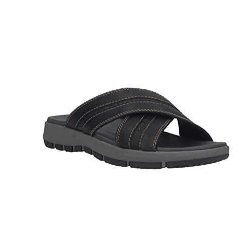a3e69d6c1f8 Clarks Men s Brixby Cross Black Leather Sandals-10 UK India (44.5 EU ...