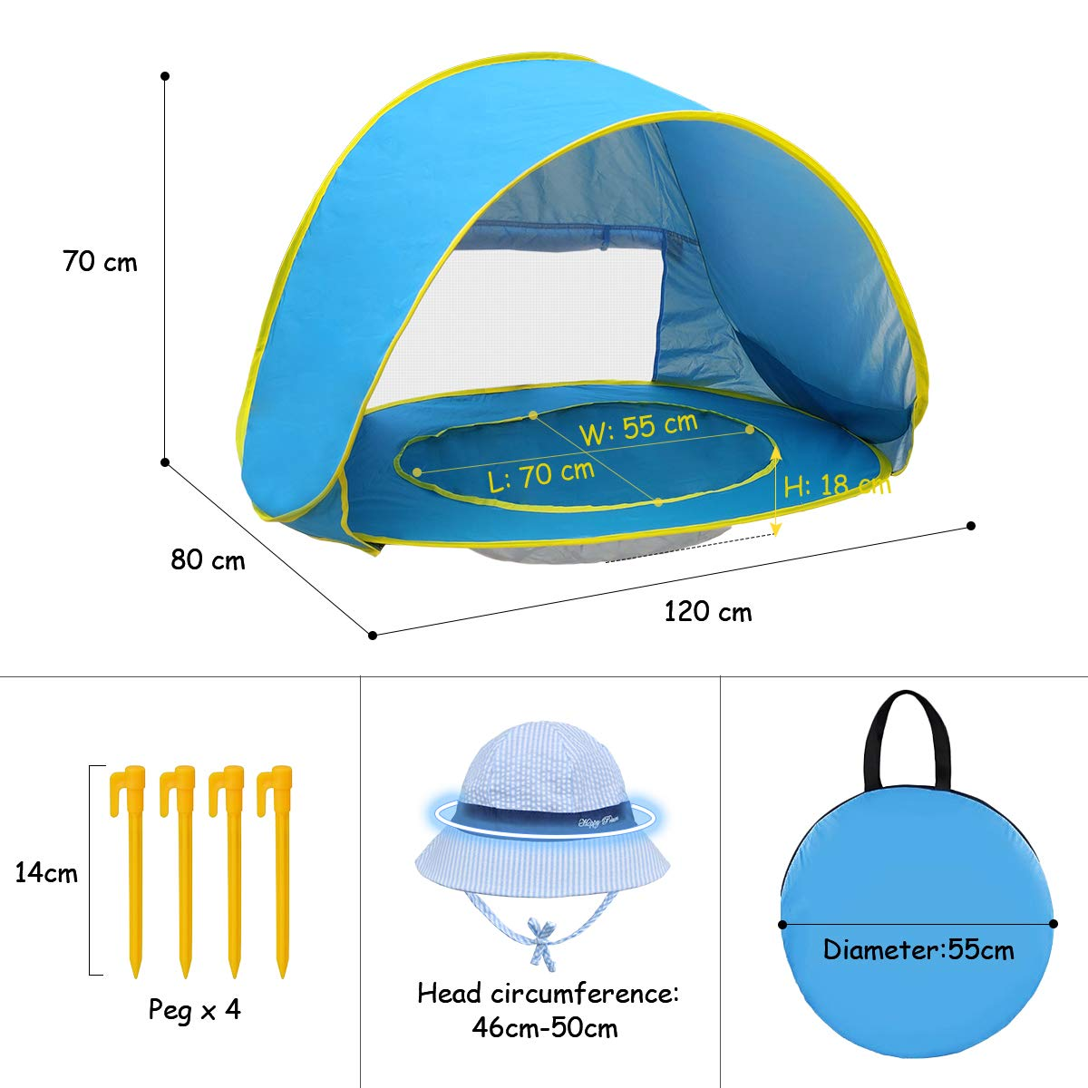 LOYO Baby Beach Tent with Built-in Pool Infant Ultralight Automatic Pop Up Tent UPF 50+ Beach Shade UV Protection Sun Shelters with Carry Bag and A Bonus Sunshade Hat for Toddler Aged 0-3