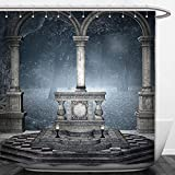 Beshowere Shower Curtain Gothic House Decor Collection Altar on Checkered Floor in Scary Hazy Winter Forest Holy Spiritual Church Scenery Bedroom Living Room Dorm Blue Grey.jpg