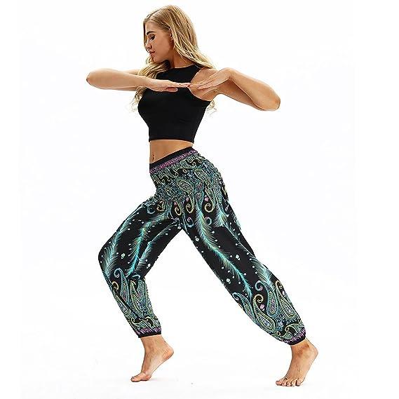 JJLIKER Women Floral Print Harem Pants Colorful Hippie Yoga ...